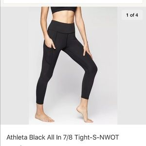 Athleta Black All In Tight. SZ S Light compression